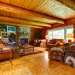 Stock Photo: Log cabin living room interior.