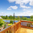 Balcony natural wood with view of the lake — Foto de Stock