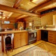 Log cabin wood kitchen with rustic style. — Stock Photo