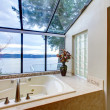 Large tub with glass wall with water view. — Stock Photo #11406350