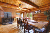 Log cabin living room with stove. — Stock Photo