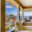 Stock Photo: Luxury view from modern living room with white chair.