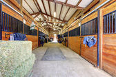 Horse stable interior with hey and wood doors. — Stock Photo