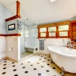 Large classic blue bathroom interior with tub and tiles. — Stock Photo #11842486