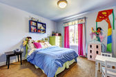 Blue girls bedroom interior. Child room. — Stock Photo