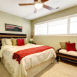 Bedroom interior with red and green, elegant simple design. — Stock Photo