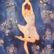 Ballerina in white dancing. Painting on silk. — Stock Photo