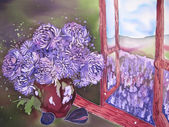 Purple flowers near the window with purple field. Painting. — Stock Photo