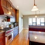 Luxury pine wood beautiful custom kitchen interior design. — Stock Photo