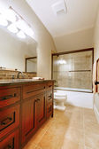 Nice bathroom with wood luxury cabinet. — 图库照片
