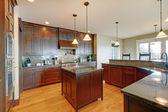 豪华松木木美丽自定义厨房室内设计. — 图库照片