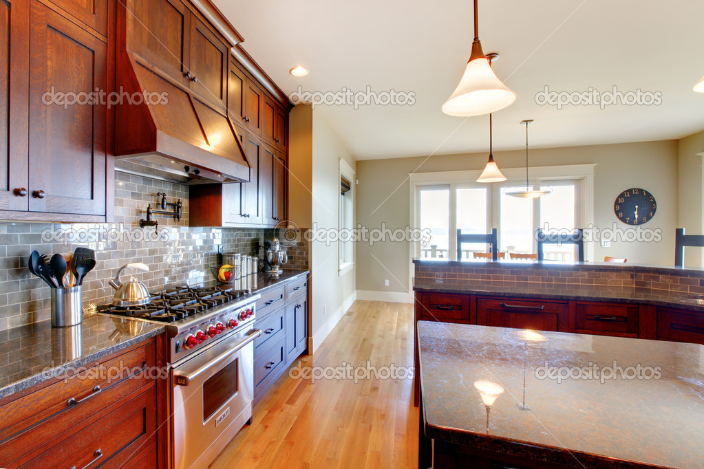 Luxury pine wood beautiful custom kitchen interior design with island and granite. — Stock Photo #12074767