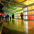 Modern colorful architectural tunnel in Chicago airport. - Stock Photo
