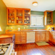 Green kitchen with wood cabinets and hardwood floor. — Stok fotoğraf
