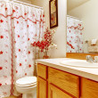 Stock Photo: Simple bedroom with flowery curtain shower and wood sink cabinet.