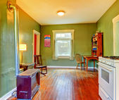Green dining room near kitchen with stove and white stove. — Photo