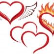 Heart in fire, heart with wings, two hearts. — Stockvector