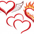 Heart in fire, heart with wings, two hearts. — Vector de stock