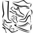 Set of shoes sillhouettes, vector sketch in simple lines — Stock Vector