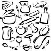 Big set of kitchen tools, vector sketch — Stock Vector