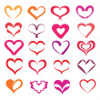Stylized hearts collection — Image vectorielle