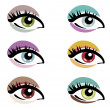 Stock Vector: Makeup eyes set of vector symbols