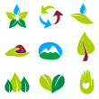 Nature set of symbols, green and bio concepts — Stock Vector