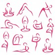 Big set of yoga symbols — Stock Vector
