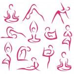 Big set of yoga symbols — Stock Vector