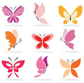 Set of butterfly icons — Stock Vector