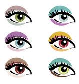 Makeup eyes set of vector symbols — Stock Vector