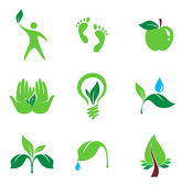 Set of nature and organic vector icons — Stock Vector