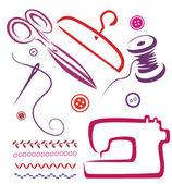缝纫工具和对象集 — 图库矢量图片