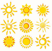 Sun collection of symbols — Stock Vector