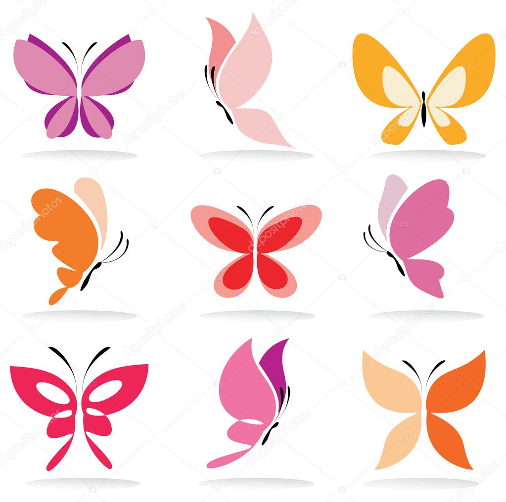 Set of butterfly icons, isolated vector illustration  Stock Vector #11474463