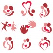 Love, wedding, set of couple in love icons — Stock Vector