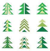 Çam ağaçlarının sembolleri olarak ayarla — Stok Vektör