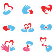 Stock Vector: Hands and heart set of symbols