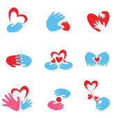 Hands and heart set of symbols — Stock Vector