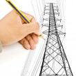 Hand drawing Crain line for Construction concept. — Stock Photo #11369815