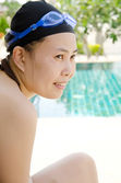 Close up woman swimming in swimming pool. — Stock Photo