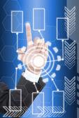 Ręcznie, naciskając przycisk cyfrowy na interfejs ekranu dotykowego. — Zdjęcie stockowe