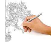 Hand drawing chinese style dragon statue. — Стоковое фото
