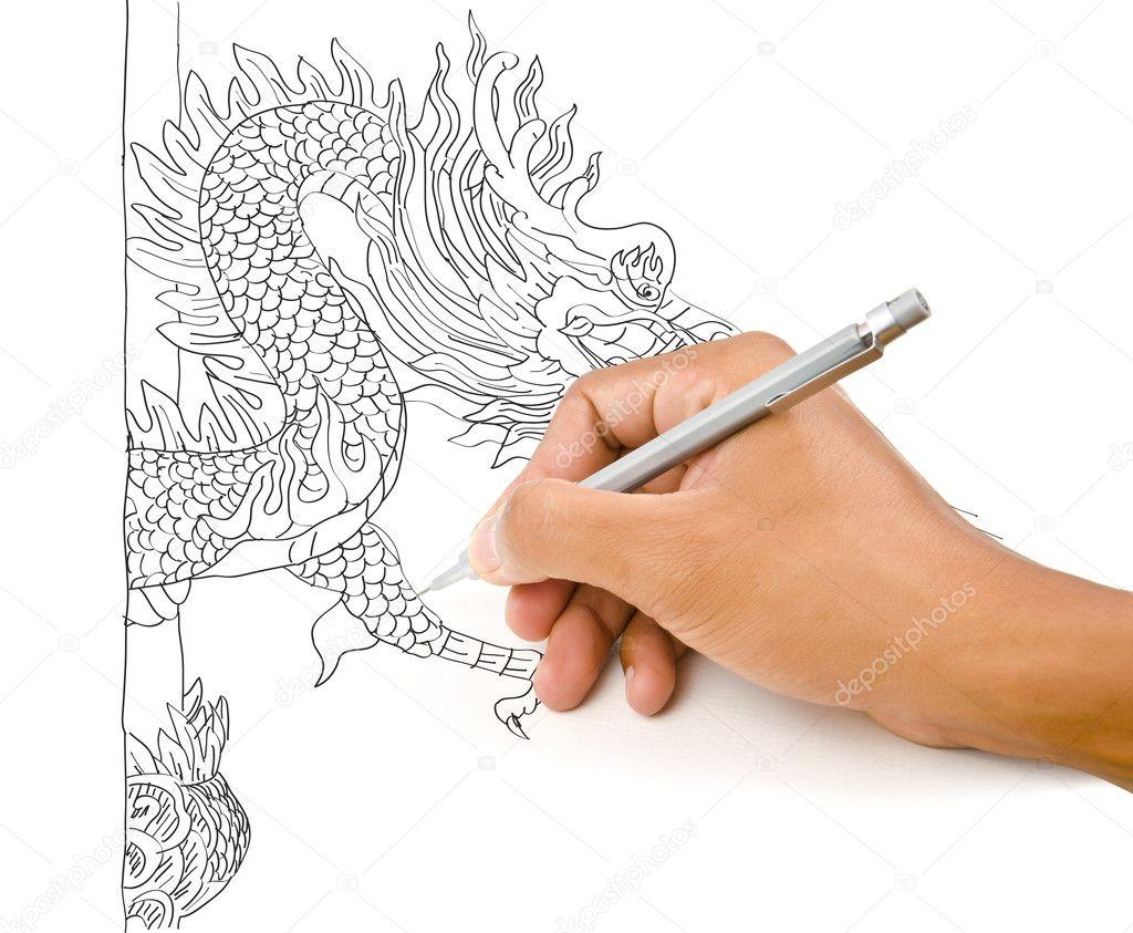 手绘图中国风格龙雕像