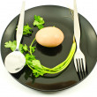 Empty black plate and fork spoon isolated. — Stock Photo