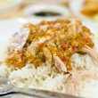 Thai chicken food with rice — Stock Photo