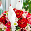 Stock Photo: White bird on flower.