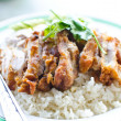 Thai chicken food with rice. — Stock Photo