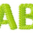 Green leaf A and B alphabet character. — Stock Photo