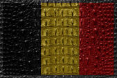 Vintage Belgium flag with crocodile skin. — Stock Photo